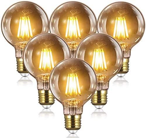 WSVULLD Bombilla De Filamento De Tornillo LED, Lámpara De Estilo Antiguo Retro, Bombillas De Araña LED De Tornillo - 4 W (equivalente A 40 W), No Regulable (paquete De 6) [Clase Energética A ++], 8 W,