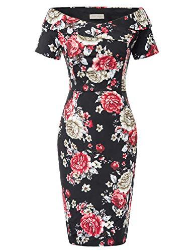 Belle Poque - Vestito Vintage a Spalle Scoperte, da Donna, Anni '50, Vestito Aderente, per Balli e Feste Floral-13 (bp0117-13) 44