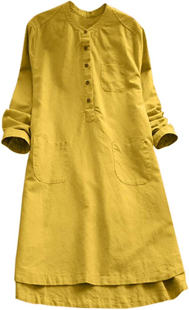 iQKA Women Plus Size Cotton Linen Button Down Shirt Dress Long Sleeve Casual Loose Pockets Mini Tunic Dress