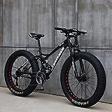 WLWLEO Mens Mountain Bike 26 Inch Full Suspension Mountain Bikes Bicycle, Soft Tail Dual Suspension Fat Tire Bike Double Disc Brake, Beach Snow All Terrain MTB,Black,26' 24 speed