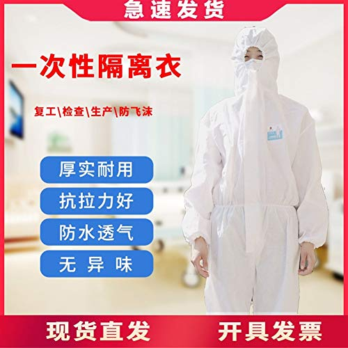 VVBGTS Einweg-Kleid Einweg-Schutzkleidung der Bürgerlichen und staubdicht Kleidung Kleider Wasserdicht Non-Woven Schutzmäntel (Color : Disposable Gown, Size : XXXL)
