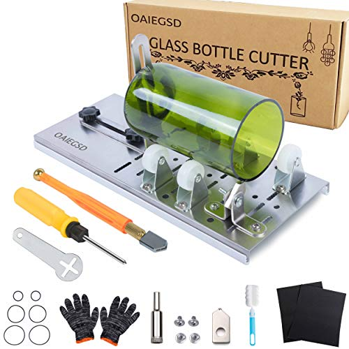 OAIEGSD Glass Bottle Cutter, Glass Cutter for Bottles for Cutting Wine, Beer, Mason Jars, Whiskey, Round and Oval Bottles, Bottle Cutter & Glass Cutter Bundle for DIY Project Crafts