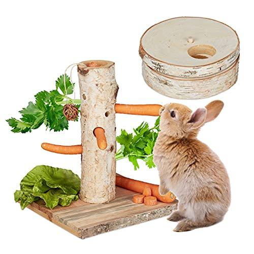 Relaxdays Kaninchen Spielzeug, 2tlg. Set, Futterbaum & Intelligenzspielzeug, Holz, Zubehör Meerschweinchen, Hasen, Natur