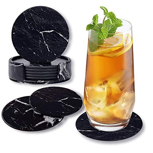 Happy FinDING - Set di 6 sottobicchieri rotondi in pelle PU con supporto, per bicchieri, tazze, bevande – cucina, casa, bar e ufficio, tavolo in marmo, colore: nero
