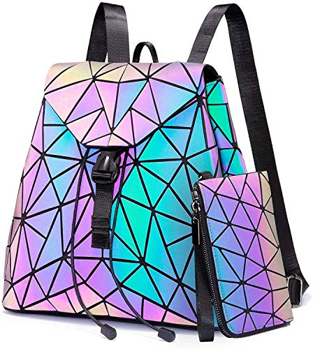 LOVEVOOK Geometrische Rucksack Kleine Geldbörse Set, Holographic Leuchtende Taschen Damen Daypack Purse Brieftasche Kartentasche