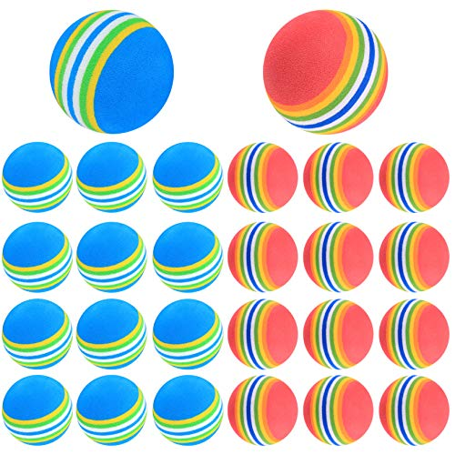 Bolas de Golf, Pelotas de Golf de Práctica, Pelotas Golf de Esponja Espuma, Parque de Bolas Colores para Niños, Interior - 26 Piezas/Rojo, Azul