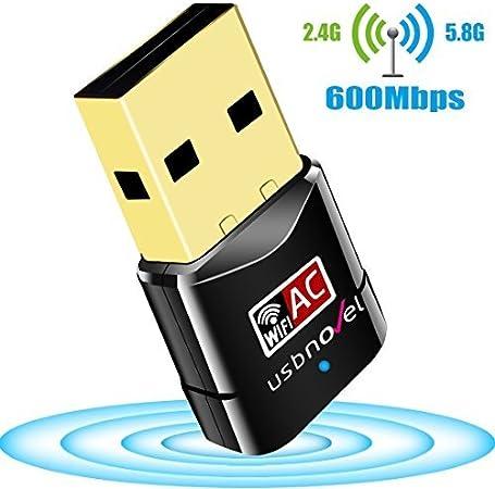 USBNOVEL Adaptador USB WiFi, AC600 Dual Banda Adaptador USB inalámbrico 2.4GHz 150Mbps o 5Ghz 433Mbps Compatible con Windows XP/ 7/8 / 8.1/10 / ...