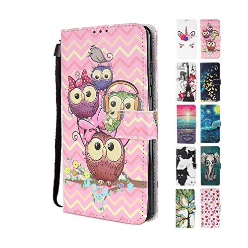 UCool Cover Custodia Apple iPhone 5 5S SE Caso Flip Portafoglio a Libro Pelle PU Belle Famiglia Rosa Gufo 3D Disegni Bumper Protettiva Antiurto