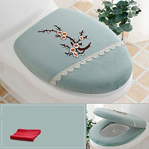 WAYER Cuscino WC,Luxury Water Seat Copertura 2 Set Pack (Coperchio Copertina & Coperchio Serbatoio) Camera da Bagno Zip Super Caldo Morbido Comfy-E
