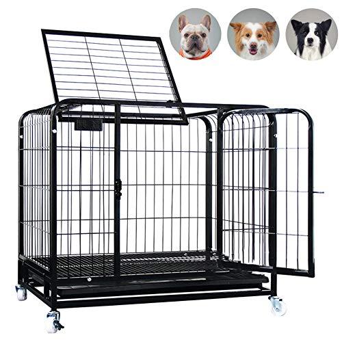 ZWW grote hondenkooi, metalen anti-ontsnapping kleine en middelgrote hond krat spel hek met zonnedak & lade & wielen