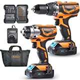 VonHaus MAX 20V Cordless Hammer Drill and Impact Driver Combo Kit with 2x Lithium-Ion...