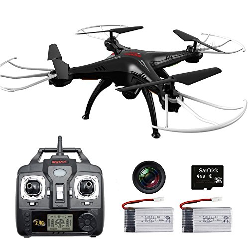 Hobbytiger Syma Upgrade Drone X5SC-G Explorers + 2 Batteries Best RC Quadcopter HD Camera RTF Great for Beginner 4 Channel 6 Axis Remote Control