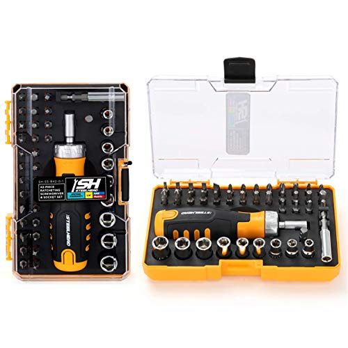 STEELHEAD 42-Piece Ratcheting Magnetic Screwdriver Bit & Socket Set, (4) Hex, (6) Phillips, (5) Slot, (4) Square, (7) Star, (9) 1/4' SAE & Metric Sockets, Handle Bit Storage, USA-Based Support