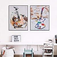 水彩カップルギターキャンバスアートプリント絵画ポスター壁の写真リビングルームの家の装飾的な寝室の装飾| 45x60cmx2Pcs /フレームなし
