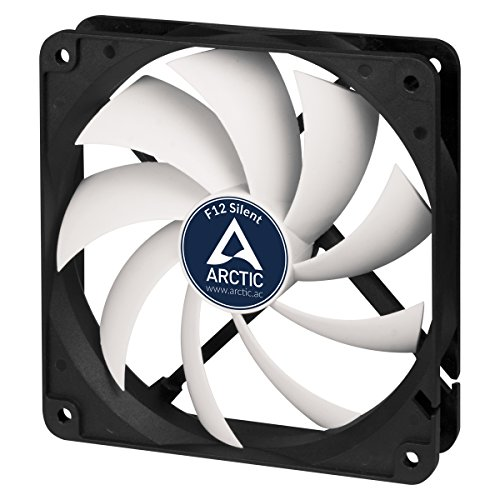 ARCTIC F12 Silent - 120 mm Case Fan, Extra quiet motor, Computer, Almost inaudible, Push- or Pull Configuration possible, Fan Speed: 800 RPM - Black/White