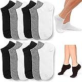12 Pair Women Ankle Socks Ped Low Cut Fit Crew Size 9-11 Sport Black White Grey