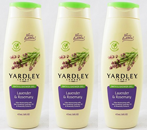 Yardley London Skin Soothing Bath & Shower Gel, Lavender & Rosemary 16 oz (Pack of 3)