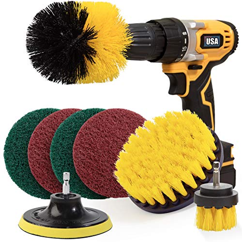 Holikme 8 Piece Drill Brush Attachment Set Scouring Pads Power Scrubber Brush Scrub Pads Cleaning Kit-All Purpose Cleaner for Bathroom Surfaces, Floor, Tub, Shower, Grout, Tile, Corners