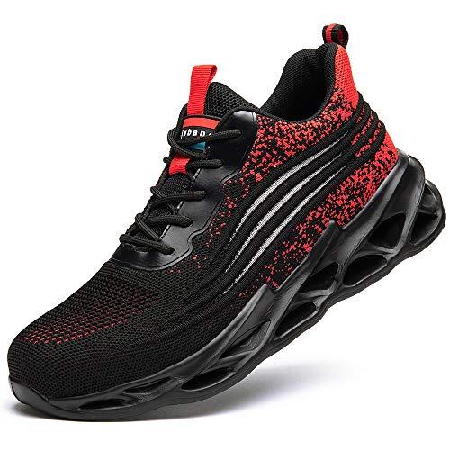 [マンディー] 安全靴 あんぜん靴 作業靴 スニーカー レディース メンズ 鋼先芯(JIS H級相当) おしゃれ 軽量 通気 ワークマン シューズ 滑り止め 耐摩耗 セーフティーシューズ 798/レッド/43