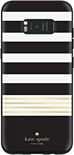 kate spade new york Protective Hardshell Case for Samsung Galaxy S8 Plus - Stripe 2 Gold Foil / Black / Cream