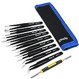 RYMALL 10 Piezas Pinzas de Precisión ESD Anti-Estáticas de Acero Inoxidable para Electrónica, Joyería, Trabajo de Laboratorio, Maintenance Tools, negro