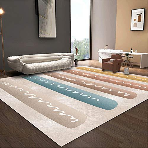 alfombras habitacion matrimonio marrón Alfombra de sala de estar alfombra marrón de rayas anchas alfombra suave antideslizante protector suelo silla ruedas 45X75CM alfombras de plastico 1ft 5.7''X2ft