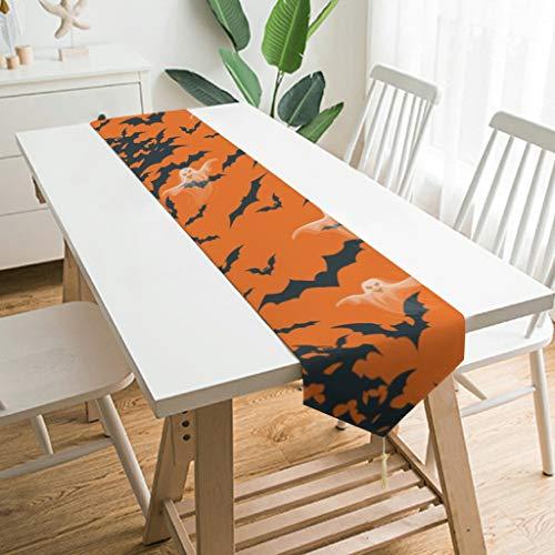 Wraill Chemin de table moderne en peluche pour Halloween Horreur et esprit, Bois, Blanc, 200*33cm