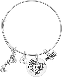 Cheer Charm Bracelet- Cheerleading She Believed She Could So She Did Bangle Bracelet- Cheer Jewelry - Perfect Gift For Cheerleaders & Cheer Coaches