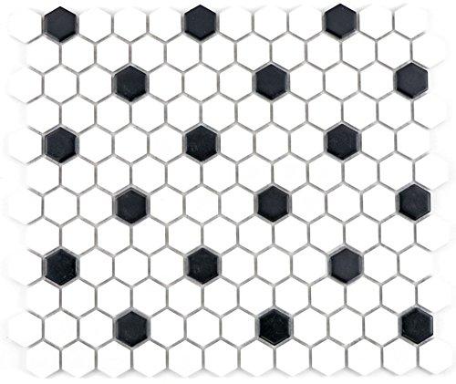 Mosaik Fliesen Mosaikfliesen Keramikmosaik Keramik Kachel Hexagon schwarz weiß matt | 10 Mosaikmatten