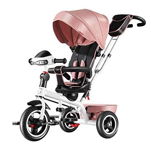YUMEIGE driewieler geschikt voor kinderen van 2 tot 6 jaar oud, standaard kinderwagen belasting 50 kg, hoogte 31,4 inch tot 47,2 inch, kinderwagen met hoog koolstofstalen frame roze