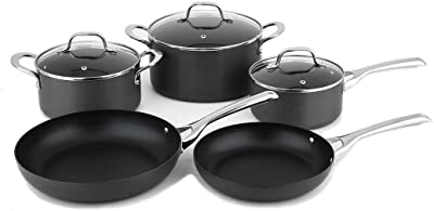 PINKEONLINE Classic Hard Anodized Nonstick 8 Piece Cookware Set Pots and Pans Kitchenware Induction Base, Black.
