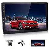 Double Din Navigation Car Stereo 10.1 inch Android Car Radio Touch Screen Stereo with Bluetooth + FM+ WiFi + GPS Support Mirror Link Dual USB Input & Backup Camera + External Microphone