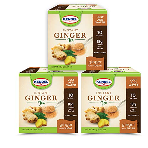 Kendel Instant Ginger Tea with Sugar, Caffeine Free (30 Sachets)