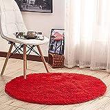 Morbuy Tapete Redondo Felpudos Alfombra 60CM/80CM/100CM Hogar Antideslizante Alfombras Piso Moqueta Mats Pad para Habitación Lavable Decorativo Suave Superficie (60cm, Rojo)