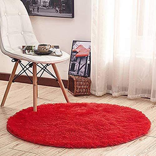 Morbuy Tapis Rond Lavable 60cm/80cm/100 cm Interieur Anti Slip Chambre à Coucher Salon Tapis d