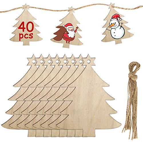 MELLIEX 40pcs Fette di Legno di Natale Dischi Ornamenti Decorazioni in Legno Fai-da-Te Set con Spago per Decorazione della Festa di Natale a Casa (Albero di Natale)