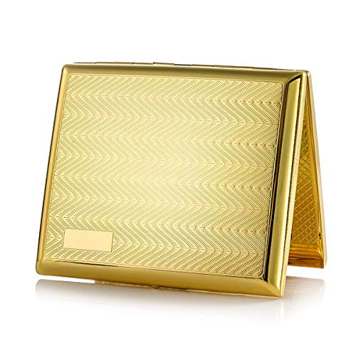 Gold Zigarettenetui Metall Zigarettenschachtel Zigarettenkasten Cigarette case für 20 Zigaretten, antik Edelstahl Zigarettenetui mit Gravur elegantem Aussehen und besonderem Qualitäten
