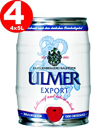 4 x Ulmer Export Partyfass 5,0 Liter 5,4% vol.