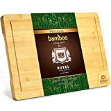 Extra Large Organic Bamboo Cutting Board with Juice Groove - Kitchen Chopping Board for Meat (Butcher Block) Cheese and Vegetables (XL 18 x 12')