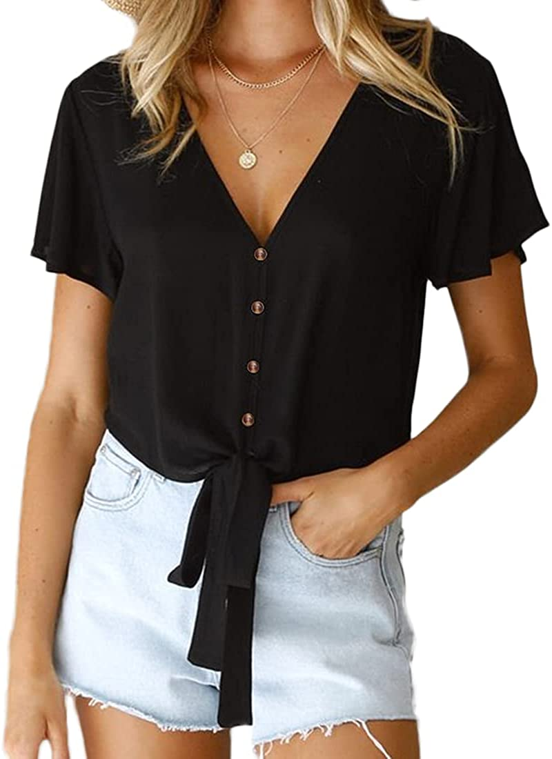 NEXLOMOS Womens Summer Blouses Deep V Neck Short Sleeve Tie Knot Button Down Shirts