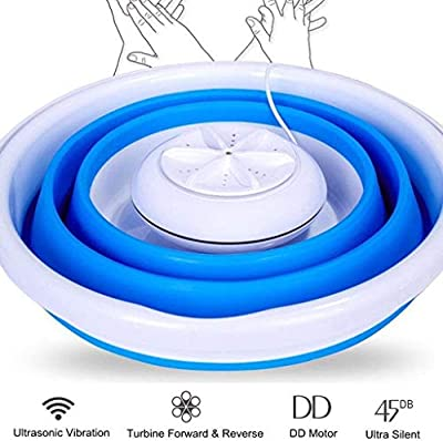 Basic/Upgrade Folding Laundry Tub, Portable Mini Tub Washing Machine, Foldable Personal Compact Ultrasonic Turbines Rotating Washer, USB Powered Convenient Laundry