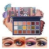 Mimore Sombra de ojos de 18 colores, paleta de sombra de ojos metálica ultra pigmentada con brillo...