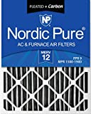 Nordic Pure 20x25x2 MERV 12 Pleated Plus Carbon AC Furnace Air Filters 3 Pack