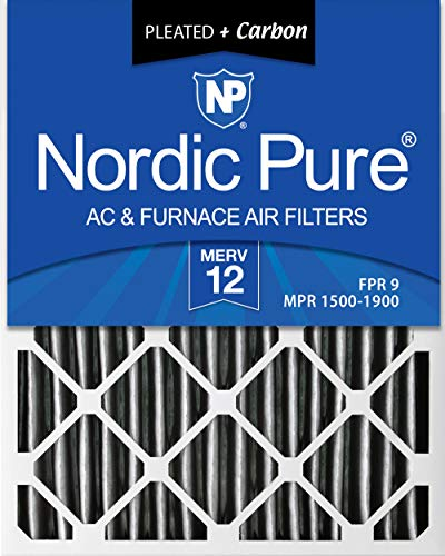 Nordic Pure 20x25x2 MERV 12 Pleated Plus Carbon AC Furnace Air Filters, 3 PACK, 3 Piece