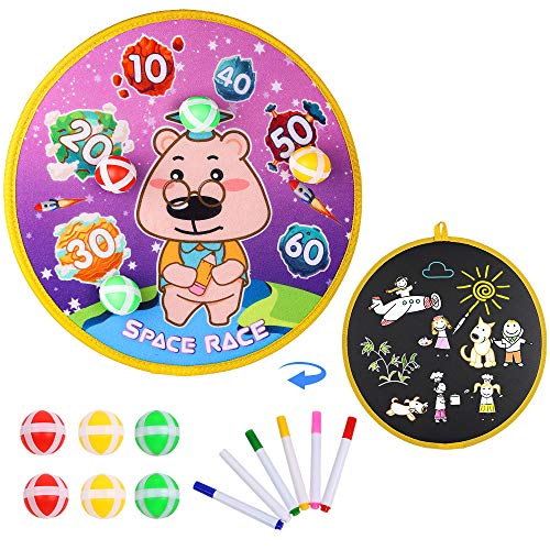 Kids Game Dart Board Set with 6 Balls Dart Board Toy Game, Safe Dart Board Game, Double-Sided Design - Can Draw on The Back