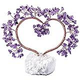 KYEYGWO - Árbol de cristal reiki sobre base de especialistas de Cluster de cuarzo en cristal de roca, árbol de plata en piedra en forma de corazón, Fengshui Bonsái árbol figuras de amatista