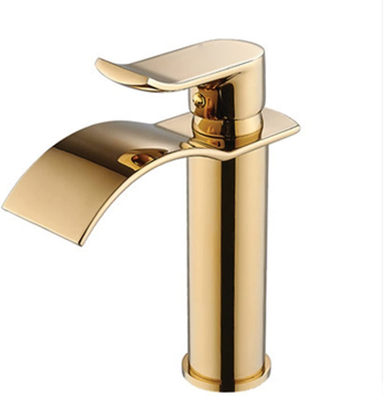 All Copper hot and Cold Basin Faucet, one-Hole Bathroom golden Waterfall Faucet-A