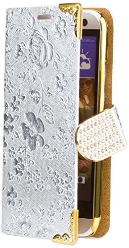 iCues HTC One Mini 2 - M8 Mini | Chrom Blumen Tasche Silber | [Display Schutzfolie Inklusive] Floral Strass Glitzer Glitter Luxus Bling Damen Frauen Mädchen Chrome Book Klapphülle Schutz Etui Handytasche zum aufklappen Flip Case Schutzhülle Booklet Hülle Wallet