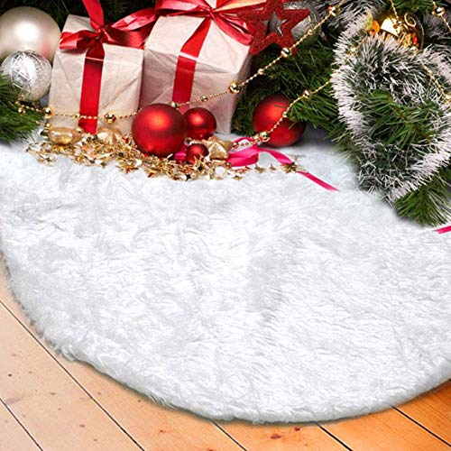 DegGod Christmas Tree Plush Skirts, 36 inches White Pure Long Haired Faux Fur Xmas Tree Skirt Mat for Christmas Thanksgiving Holiday Home Party Decorations Ornaments (Snowy White, 36 inches)