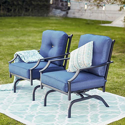 Patio Festival Rocking Patio Chairs Outdoor Metal Furniture Motion Spring Patio Chair Black Metal Dining Bistro Set with Padded Cushion for Porch Garden Balcony